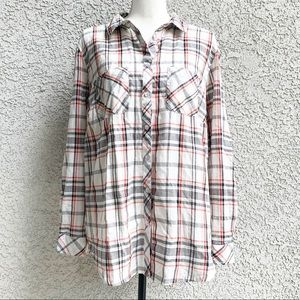 Anthology for Simply Be Plaid Button Down Ivory 16